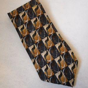 J Garcia Gold Gray Brown Black Neck Tie 100% Silk